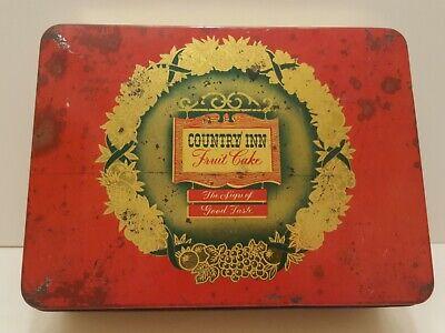 Vintage COUNTRY INN Fruit Cake Tin Red Gold 7.5x10