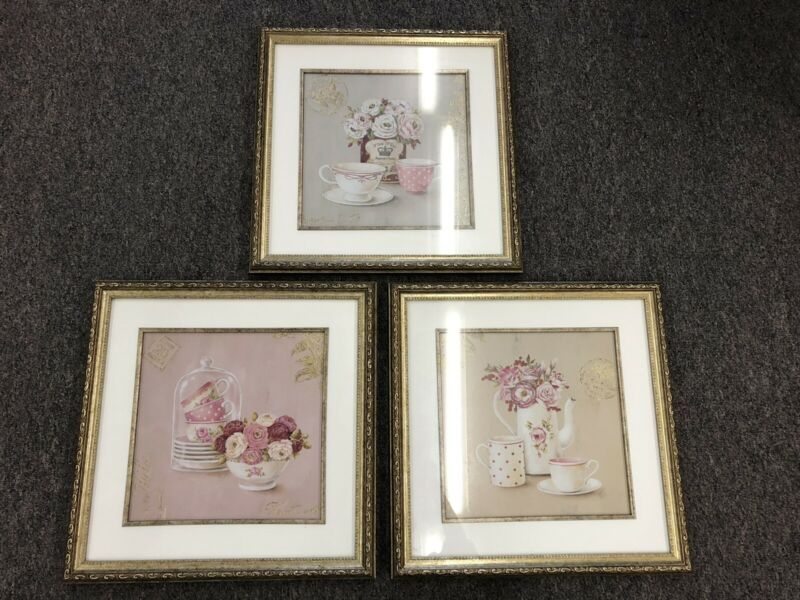 Matted Framed Elegant Coffee Time Art Prints Lot Of 3 18x18 Set For Coffee