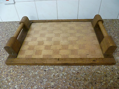 FRENCH VINTAGE / RETRO, DRINKS SERVING TRAY, LATTICE WOOD BASE, & TWINED HANDLES