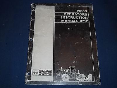 Volvo Bm Euclid Michigan W380 Wheel Loader Operation Maintenance Book Manual