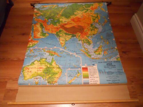 VINTAGE WEBER COSTELLO ASIA & AUSTRALIA PULL DOWN CANVAS SCHOOL MAP