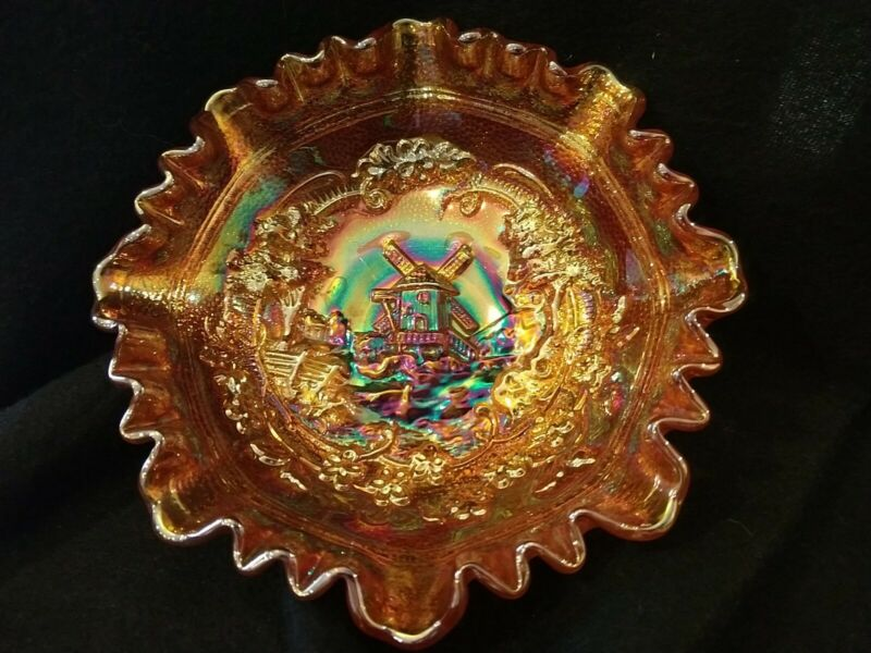 Vintage IMPERIAL Marigold Carnival Glass Ruffled Bowl Windmill Relief Design