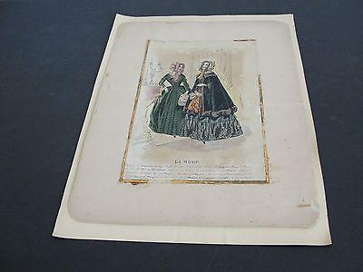Antique-1800's-La Mode-French Fashion Paris-Hand Colored Lithograph Art Print.