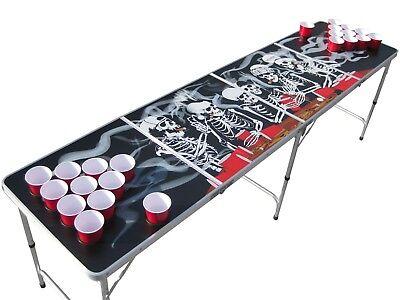 Portable Skeleton Bones Skulls Smoke beer pong table w HOLES - Bones Skeleton