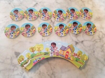 Doc McStuffins Cupcake Toppers & Wrappers Kids Birthday Party Supplies 24pcs - Doc Mcstuffin Cupcake Toppers