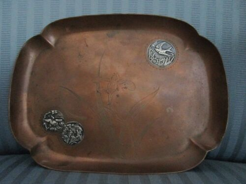 GORHAM Bird Iris MIXED Metals 1883 TRAY Copper APPLIED Sterling Silver AESTHETIC