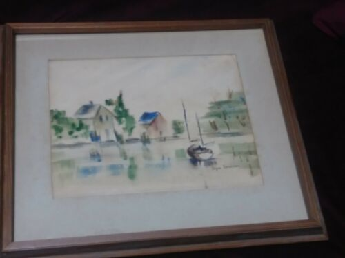 Vintage Original Watercolor Painting Signed Joyce Stratton Sailing Abstract - $44.00