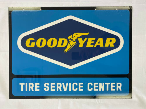 Vintage Goodyear Tire Service Center Double Sided Metal Sign CLEAN