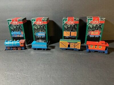 Set Of 4 Hallmark Ornaments Christmas Skyline Collection 1992 Trains - Complete!