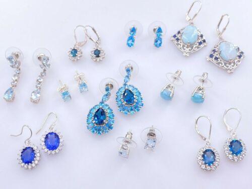 GEM TREASURES SHOPHQ STERLING SILVER 925 BLUE MULTI-STONE POST STUD EARRINGS LOT