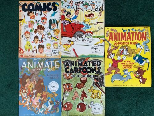 5 Vintage Walter T Foster Art Books *How to Draw - Comics Cartoons Animation