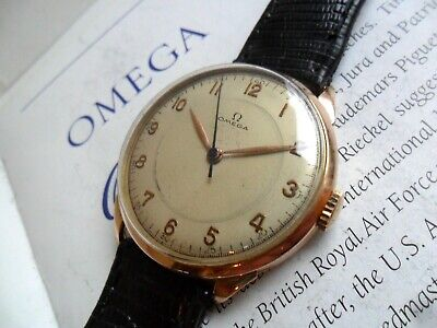 HTF 36.9 mm Solid 18k Gold Vintage 1948 Men's Omega 17 Jewel Cal. 280 Watch Runs