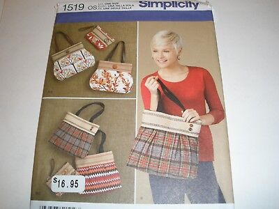 Simplicity Sewing Pattern 1519 Women's Bags Totes Clutch bag Purse Handbag UC (Clutch Purse Sewing Pattern)