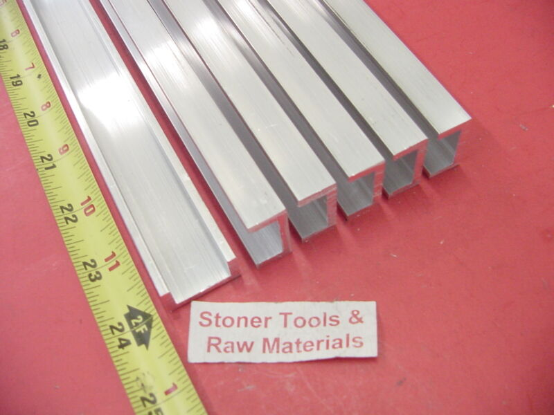 """6 Pieces 1""""x 1/2"""" ALUMINUM CHANNEL 6063 X 1/8"""" Wall 24"""" long T52 Mill Stock 144"""""""