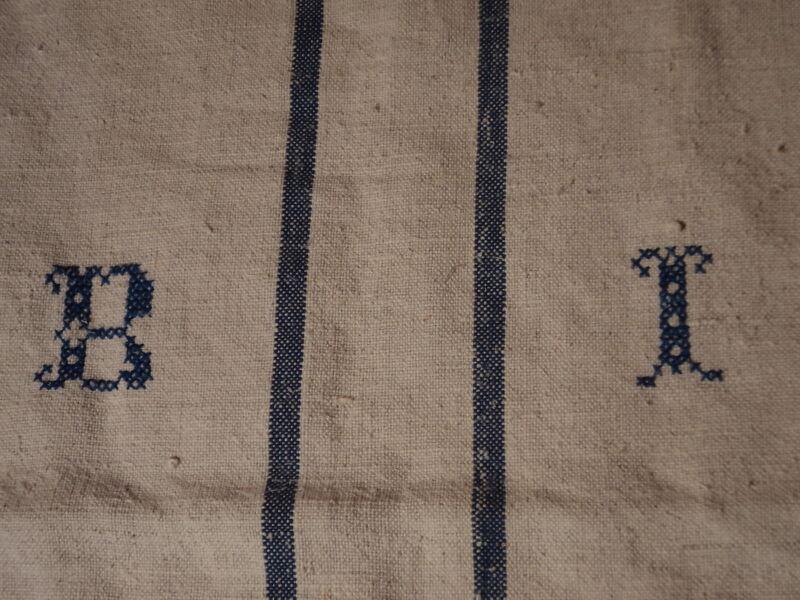 Antique European Feed Sack GRAIN SACK BI Monogram #3785