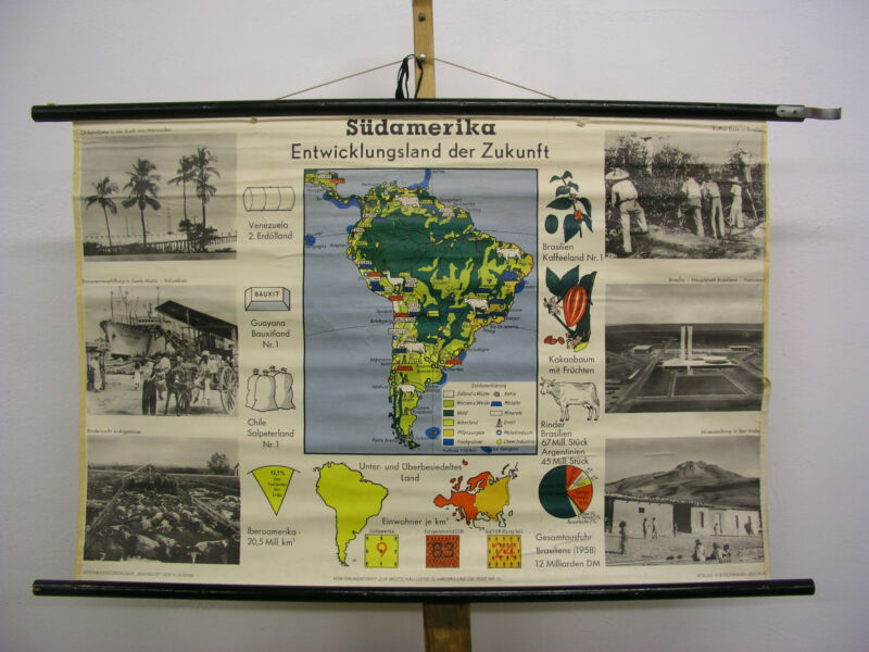 Schulwandkarte Wall Map Card America South America 39x26in South America 1958
