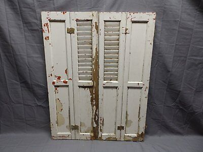 Used, Antique Bi-fold Window Wood Louvered Paneled Shutters 32x13 Interior Vtg 514-18P for sale  Oneonta