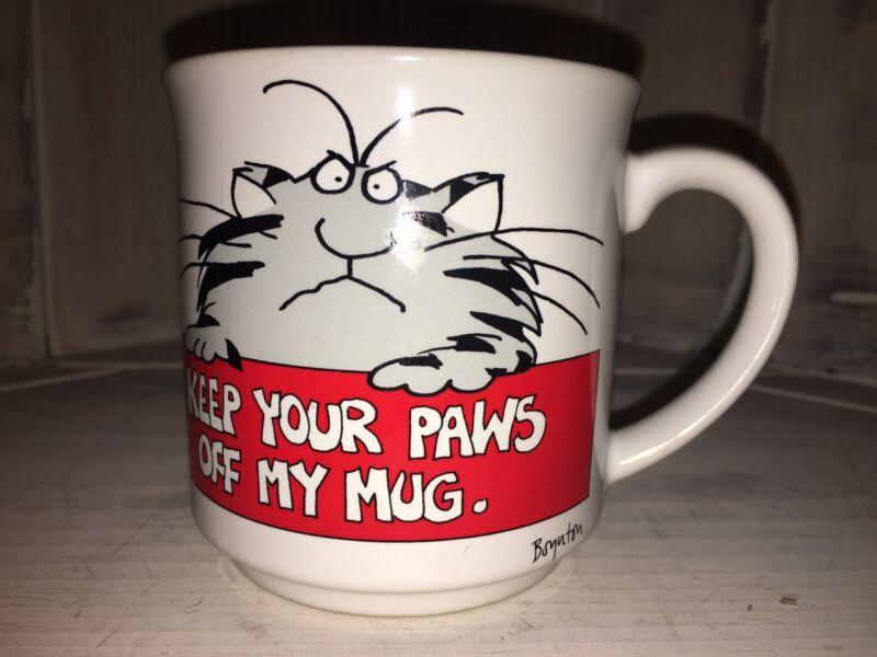 Sandra Boynton Kitty Cat Ceramic Coffee Cup Vintage Keep Your Paws Off My Mug