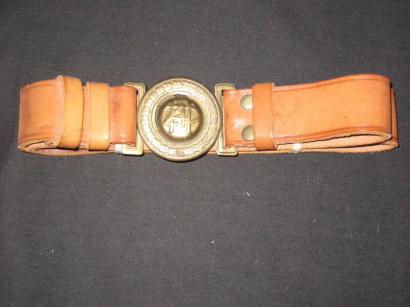 Poland Boy Scout Metal Belt Buckle & Leather Belt     c3