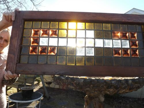 ANTIQUE AMERICAN STAINED GLASS TRANSOM WINDOW,CIRCA 1885
