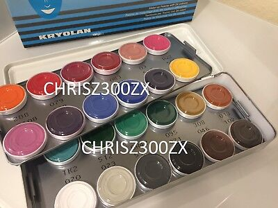 Kryolan Aquacolor - 24 Color Makeup Palette Kit 1108AC for Face and Body