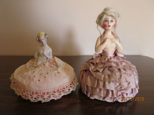 "ANTIQUE PIN CUSHION DOLLS, LOT OF 2, 6"" AND 8"", PORCELAIN 5150"
