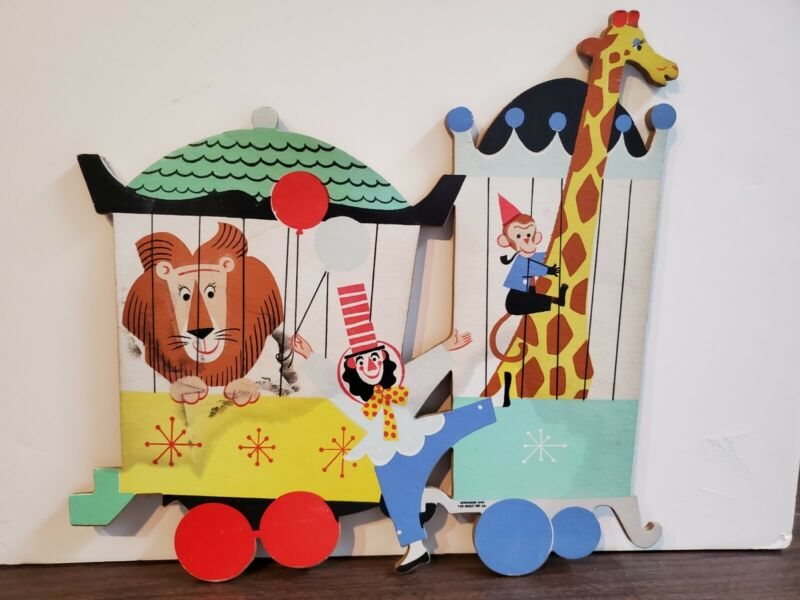 4 pc Vtg 1963 Dolly Toy Co Circus Zoo Train Nursery Cardboard Wall Hanging Decor