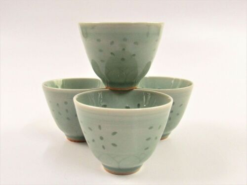 Pier 1 Celedon Green Rice Grain Pattern Tea Cups Sauce Bowls F115