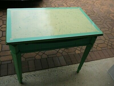 Vintage Porcelain Enamel Top Kitchen Table - Expandable - Drawer