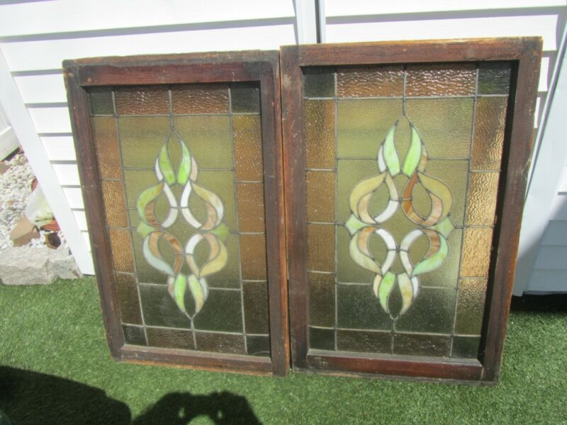 Antique Vintage Matching Pair Of Stained Glass Windows