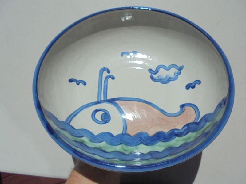 """M A Hadley Large Salad Bowl w Whale Ocean Seagulls 11"""" Excellent"""
