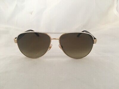 Gucci GG4239/S White & Goldtone Frame Metal Aviator Sunglasses Brown (White Frame Aviators)