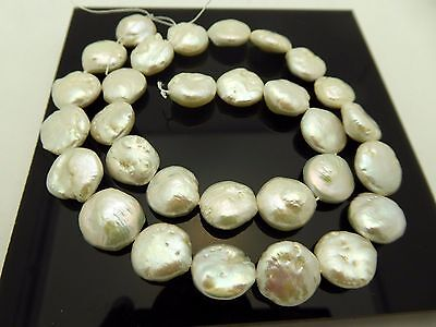 "Natural Coin Freshwater High Luster 12-13mm White Cream Pearls Beads 16"" Strand"