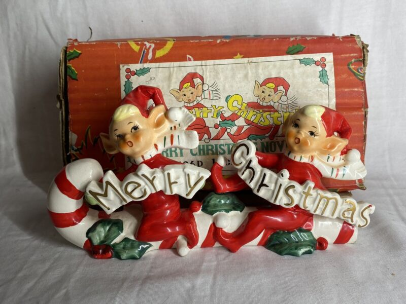 VINTAGE NOVELTY MERRY CHRISTMAS  CANDY CANE SLEIGH ELVES PIXIE BANNER JAPAN