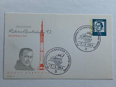Germany 1964. Postcard commemorating Astronaut Scott Carpenter .07/03/1964