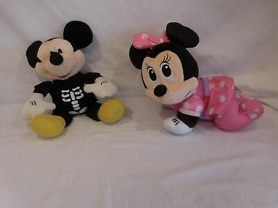Disney Halloween Skeleton Mickey Mouse Plush Sing + Minnie Musical Touch 'n - Mickey Mouse Halloween Musical