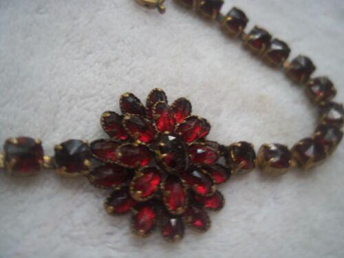 SWEET antique genuine GARNET flower center line BRACELET