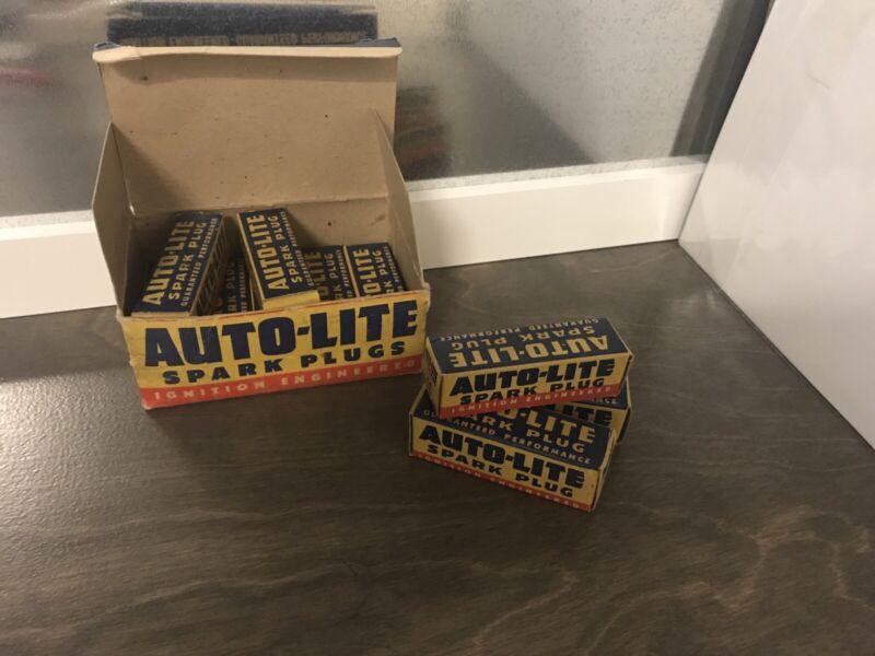 Vintage AUTO-LITE A-5 14 MM Spark Plugs Full Box Of 10