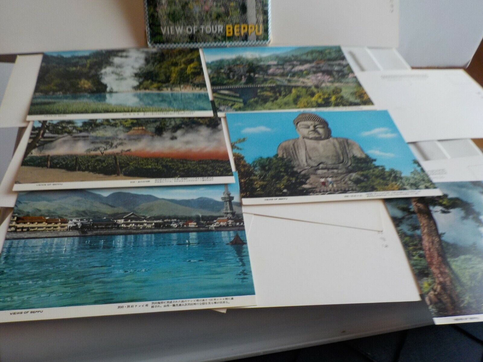POST CARDS IN SLEEVE VIEW OF TOUR BEPPU A CITY IN JAPAN 15 CARDS WRITING IN JAP - $18.04