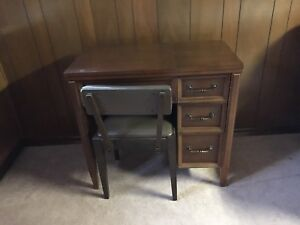 Antique table and chair from sawing machine table