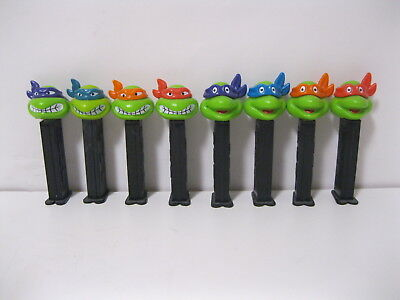 PEZ 4.9 Teenage Mutant Ninja Turtles Set of 8 Candy Dispensers BLACK STEM