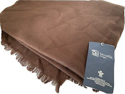 Johnstons Of Elgin Made In Scotland Pure Fine Mariono Wool Brown Scarf