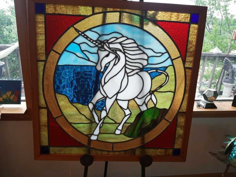 Vintage Stained Glass Unicorn - Original