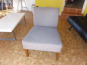 Grey upholstered Chair (REID Slipper Chair) Soft Weave North Narrabeen Pittwater Area Preview