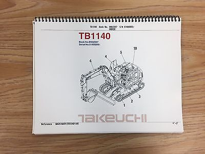 Takeuchi Tb1140 Parts Manual Sn 51400005 And Up Free Priority Shipping