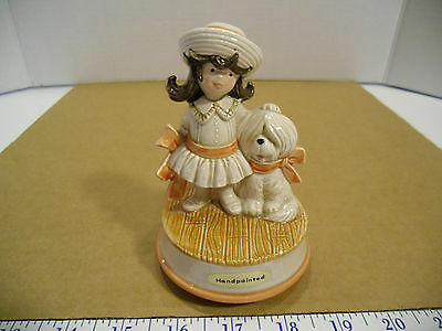 Vintage Otagiri Handpainted Girl with her Dog Everything is Beautiful Music Box