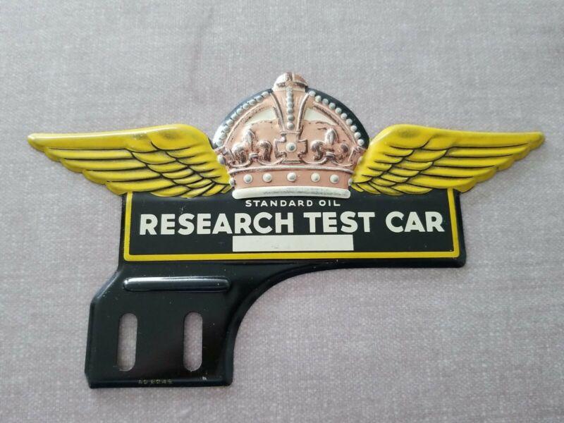 Vintage Standard Oil Research Test Car License Plate Topper