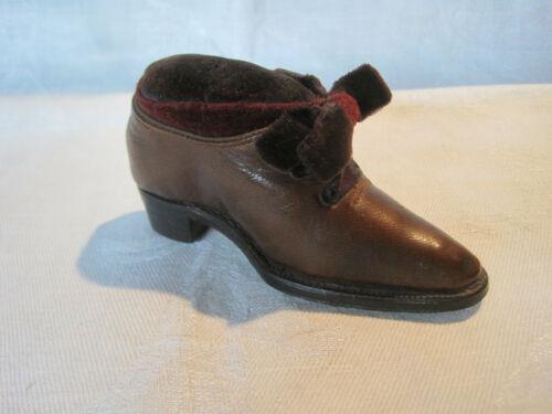 Antique Victorian leather shoe pincushion