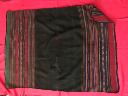 """ANTIQUE VINTAGE STRIPED PONCHO FROM QUECHUA PEOPLE OF PERU, WOOL, 36 X 50"""""""
