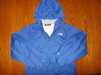 THE NORTH FACE DRYVENT FULL ZIP BLUE HOODED NYLON RAIN JACKET GIRLS LARGE EXCELL